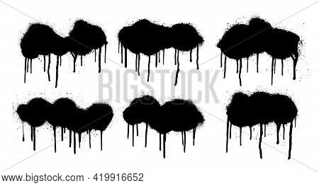 Set Spray Graffiti Stencil Template. Isolated Collection With Dripping Paint, Smudges And Drops. Gru