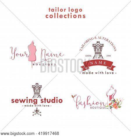 Tailor Logo Set, Tailor Boutique Logo Collections, Simple Tailor Collections Logo Vector Design Temp