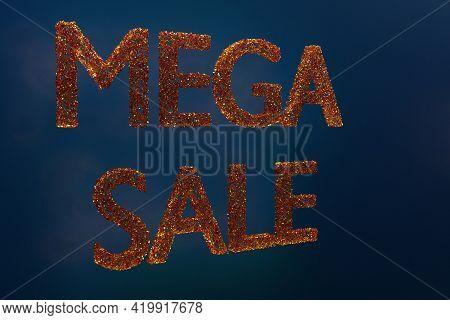 3d Illustration Design Of A Banner Mega Big Sales With The Inscription Mega Sale. Tag Templates With