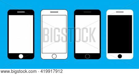 Set With Cell Phones. Telephone Icon Symbol. Cell Phone. Empty Screen, Phone Mockup. Stock Image. Ve