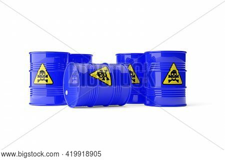Group Of Many Blue Metal Barrels With Yellow Hazardous Or Toxic Skull And Bones Sign On White Backgr