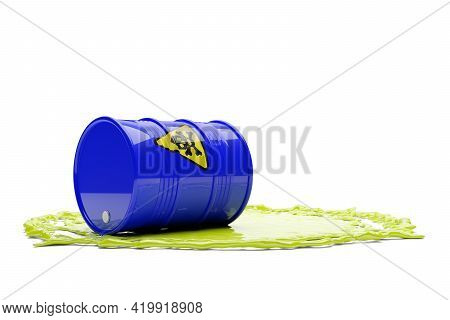 Single Blue Metal Barrel With Yellow Hazardous Or Toxic Skull And Bones Sign And Green Toxic Fluid O