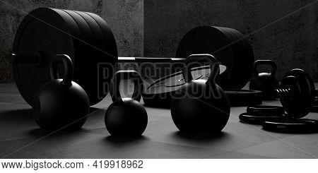 Barbell, Kettlebells And Dumbbells With Black Plates On Floor On Black Mats Gym Room Background, Spo