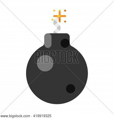 Colorful Cartoon Bomb With Burning Wick Explosion Effect Boom Whizzbang With Explosive