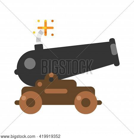 Old Ship Cannon With Burning Wick Vector Flat Illustration. Historical Military Vintage Weapon
