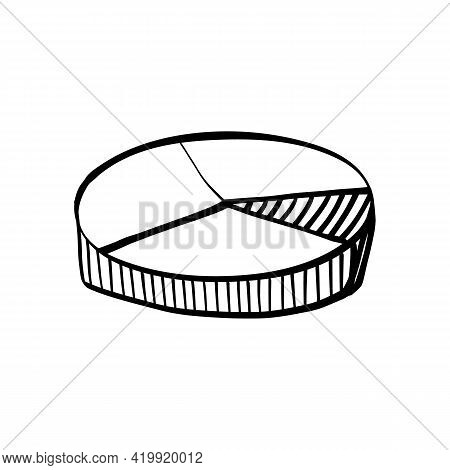 Cute Doodle Or Sketch Style 3d Diagram With Sections. Vector Isolated Illustration.