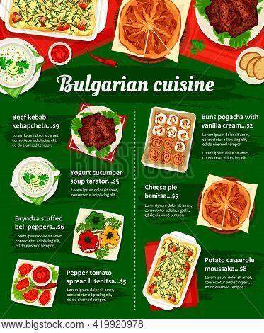 Bulgarian Cuisine Vector Menu Template Pepper Tomato Spread Lutenitsa, Yogurt Cucumber Soup Tarator,