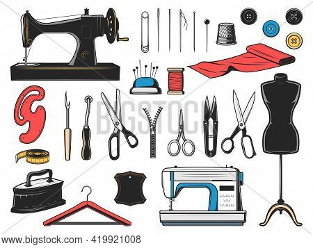 Sewing Tool Vector Icons With Tailor, Dressmaker And Fashion Designer Equipment. Needle, Sewing Mach