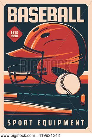 Baseball Retro Poster, Playoff Tournament And Sport Equipment, Vector. American Baseball Players Equ