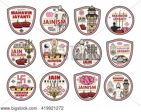 Jainism Or Jain Dharma Vector Icons With Indian Religion Isolated Symbols. Jain Prateek Chihna With