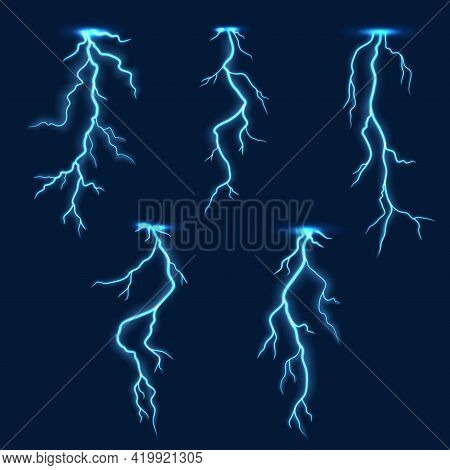 Lightning Thunder Bolt, Thunderstorm Electric Flash Effect On Vector Background. Thunderbolt Light A