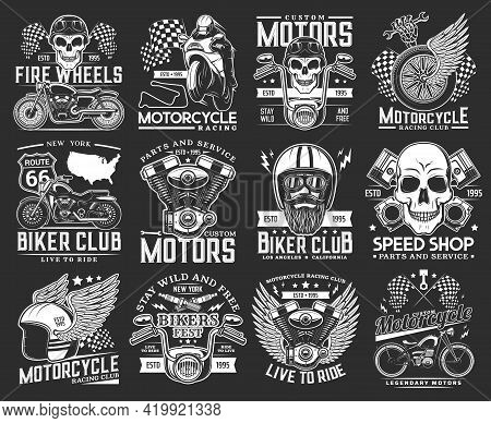 Biker Club Skull Emblems, Motorcycle Races And Speedway Sport Rides, Vector Icons. New York Biker Cl