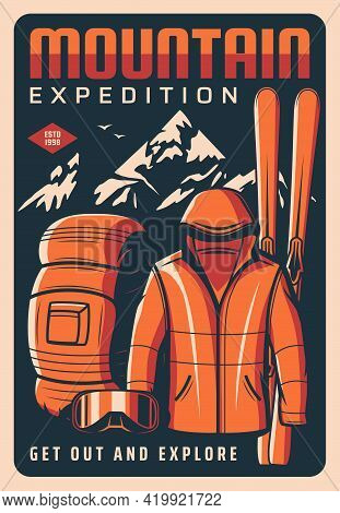Mountain Expedition Vector Retro Poster. Tourism And Rock Climbing Touristic Equipment, Clothing, Sk