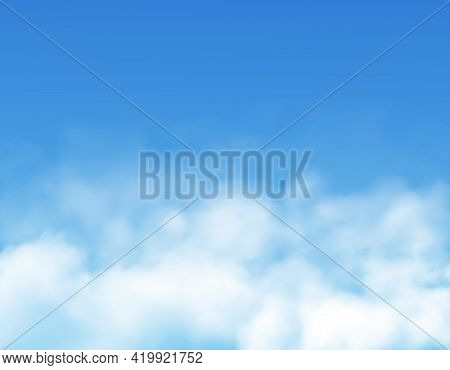 Clouds Or Fog On Blue Sky Background Realistic Vector Of White Cumulus Clouds, Mist Or Cloudy Heaven