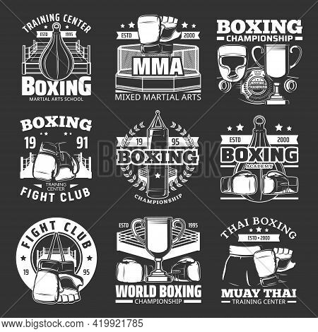 Boxing Club Emblems, Muay Thai Kickboxing Championship, Vector Icons. Mma Boxing Sport Fight Academy