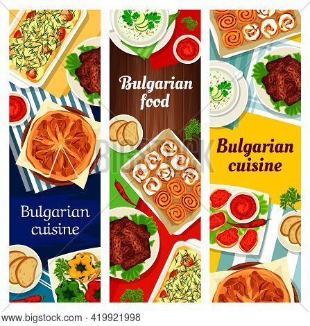Bulgarian Food Vector Spread Lutenitsa, Yogurt Cucumber Soup Tarator, Potato Casserole Moussaka, Bry