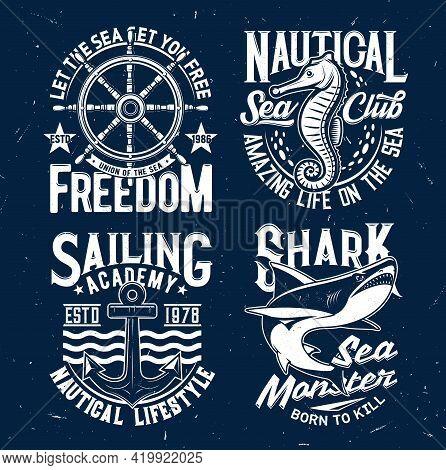 Tshirt Prints With Vector Shark, Sea Horse, Anchor, Steering Wheel And Waves. Fishing Or Marine Club