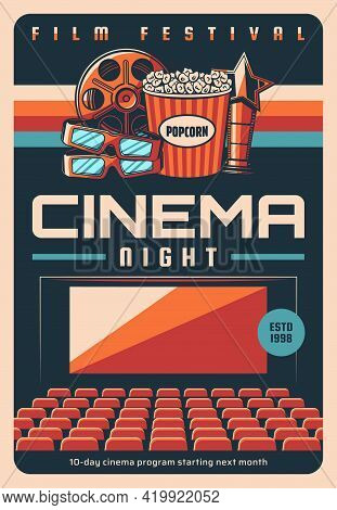 Film Festival, Cinema Night Screenings Retro Poster. Cinema Hall Movie Program Vector Cover Template