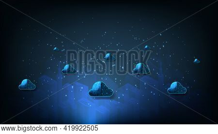 Cloud Computing Connection Concept.internet Network Connection Cloud Technology And Data Protected E