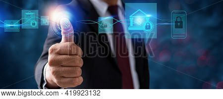 Protection Network Security Computer Fingerprint Scan And Safe Financial Stability Businessman Holdi