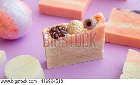 Natural Handmade Soap Bar. Many Fragrant Handmade Spa Organic Pink Soap Bars. Homemade Beauty Bath P