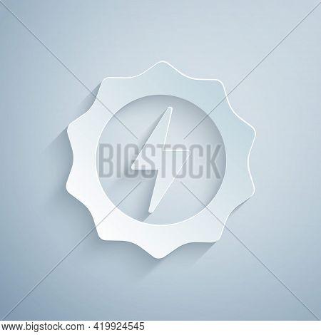 Paper Cut Lightning Bolt Icon Isolated On Grey Background. Flash Sign. Charge Flash Icon. Thunder Bo