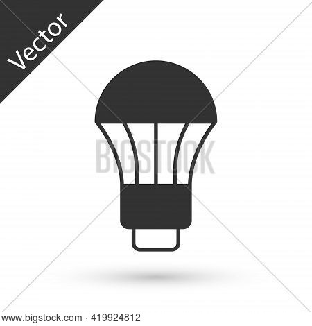 Grey Led Light Bulb Icon Isolated On White Background. Economical Led Illuminated Lightbulb. Save En