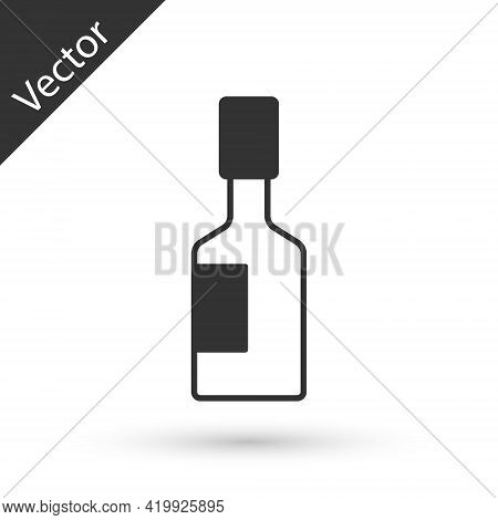 Grey Tabasco Sauce Icon Isolated On White Background. Chili Cayenne Pepper Sauce. Vector