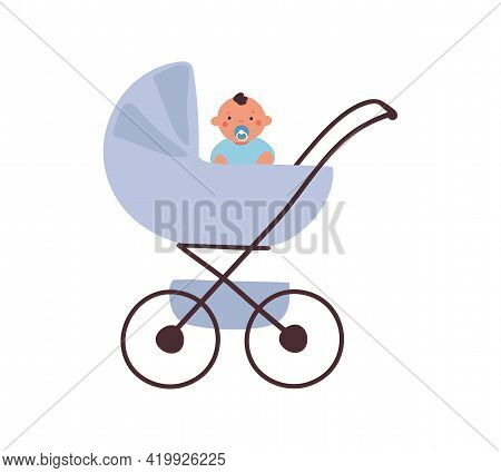 A Blue Baby Carriage With A Sitting Baby With A Pacifier. Element For Design About Motherhood, Trans