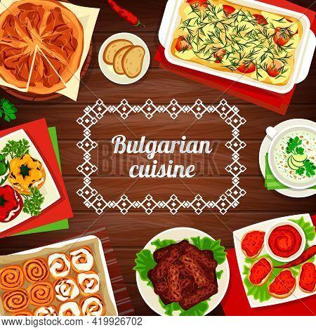 Bulgarian Cuisine Vector Pepper Tomato Spread Lutenitsa, Potato Casserole Moussaka And Bryndza Stuff