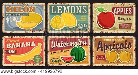 Fruits Price Cards On Metal Plates Rusty, Farm Market Food Retro Posters, Vector. Tropical Exotic An