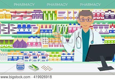 Modern Interior Pharmacy And Male Pharmacist. Pharmacy Shelves With Medicine Pills, Capsules, Bottle
