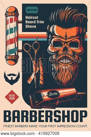 Barbershop, Beard Shave And Haircut Salon Vector Poster. Hairdresser Scissors, Retro Barber Shop Pol