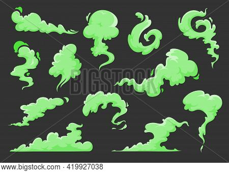 Green Bad Smell Cartoon Clouds Of Vector Stink, Odor, Smoke And Stench Vapors. Isolated Green Fog, H