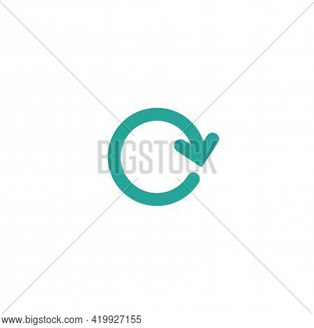 Refresh, Reload, Wait Icon. Blue Round Rotation Arrow In Circle Isolated On White. Exchange Icon. Fl