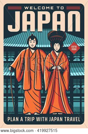 Japan Travel Poster, Japanese Landmarks, Culture And Tradition, Vector. Welcome To Japan And Tokyo,