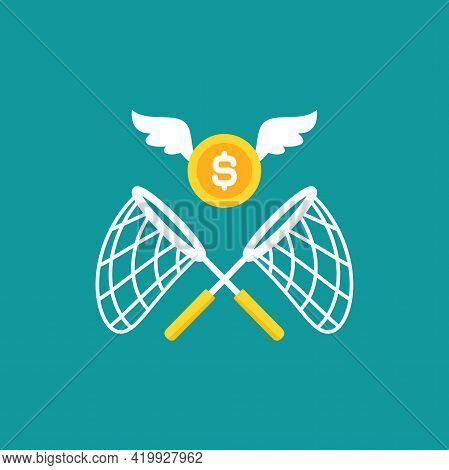 Two Crossed Butterfly Nets With Flying Golden Coins. Catch, Hunt, Chase Money Symbol. Achieve Goals,