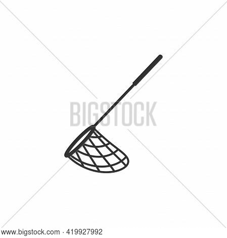 Butterfly, Pool Or Fish Net Flat Icon. Catch, Hunt, Chase Symbol. Vector Illustration Isolated On Wh