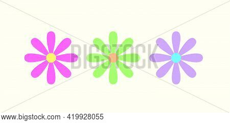 Three Daisy Flowers In Pastel Colors With A Light Background