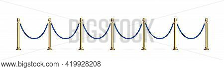 Blue Rope Barrier With Gold Stanchions. Velvet Fence For Entrance To Cinema, Club, Theater And Vip H