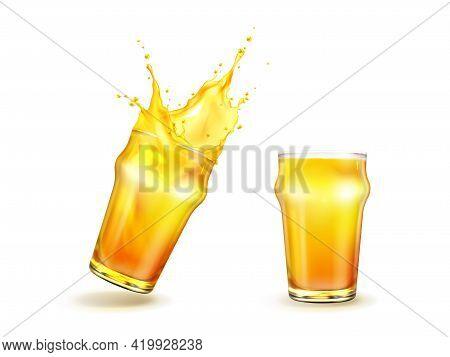 Splashing Orange Juice With Drops In Glass Isolated On White Background, Fresh Fruit Beverage Splash