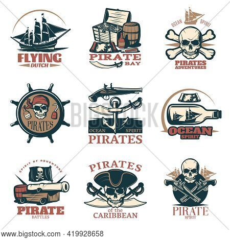 Pirates Emblem Set In Color With Pirate Adventures Pirates Of Caribbean Pirate Battles And Many Diff