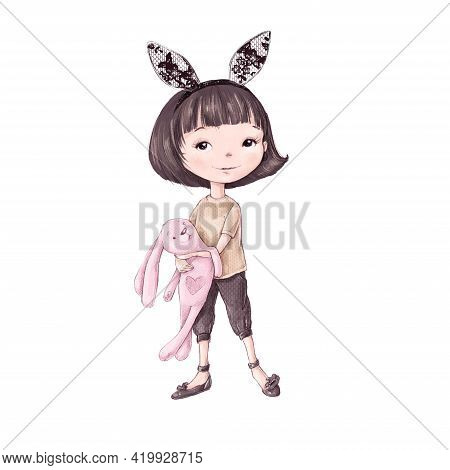 Cute Cartoon Girl Dressed As A Bunny With A Toy
