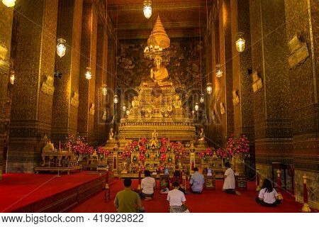 Bangkok, Thailand - December 28, 2018: In The Wihan Of The Wat Phra Chetuphon Buddhist Temple. Templ