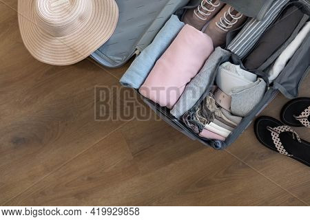 Top View Suitcase Baggage Packing Organization Use Konmari Method Frame Empty Space Trip Vacation