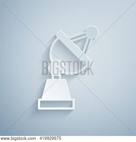 Paper Cut Satellite Dish Icon Isolated On Grey Background. Radio Antenna, Astronomy And Space Resear