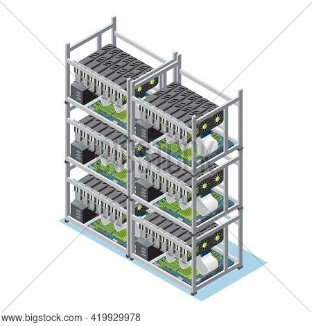 Isometric Crypto Currency Mining Farm Concept With Many Motherboards And Video Cards Isolated Vector