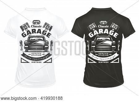 Vintage Classic Cars Garage Service Prints With Inscriptions Retro Automobile Headlights Engine Pist