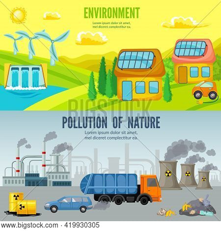 Environmental Pollution Cartoon Horizontal Banners With Comparison Of Ecological Clean And Polluted