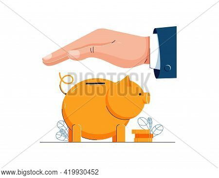 Money Protection Concept. Businessman Is Holding Hand Over The Piggy Bank To Protect. Money Safety,